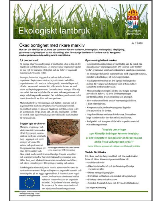 Ett nyhetsblad för dig som är intresserad av ekologisk produktion.Nyhetsbladet...